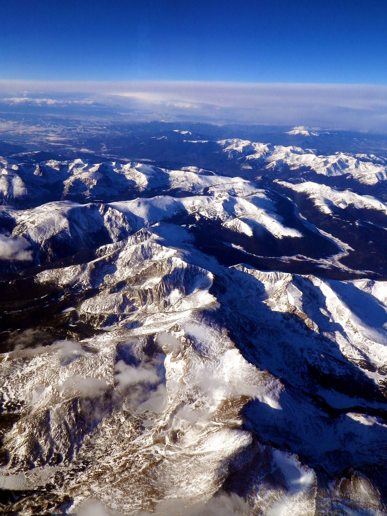 Rocky Mountains as seen from an Airplane