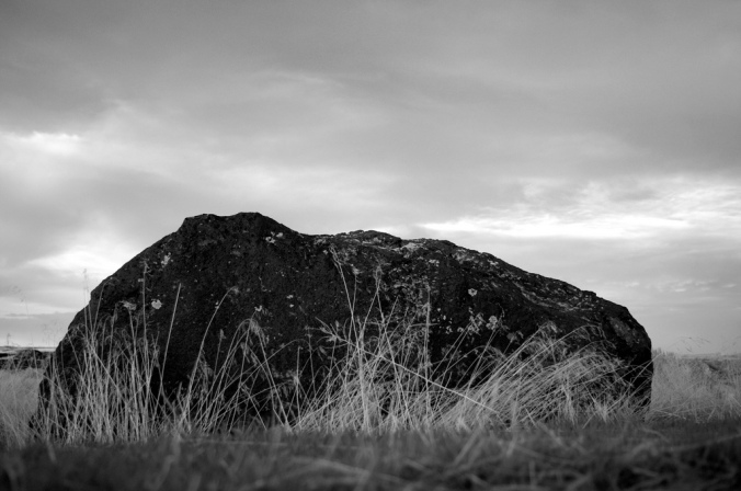 A simple rock the size of a large dresser in black and white